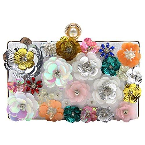 Zhhlaixing Bolsos hermosos Flowers Embroidery Beads Nightclub High Grade Pearl Rhinestones Handbags PU Evening Bags Handbags para mujer