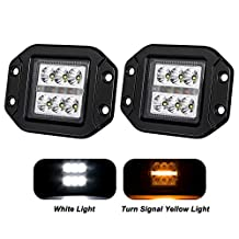 "Liteway 2x 4Inch 36W CREE Flood LED Work Light Flush Mount Driving Light Cube Pod Lamp Side Marker Turn Signal Light DRL 4WD Offroad Truck SUV UTE 5"", 1 Year Warranty"