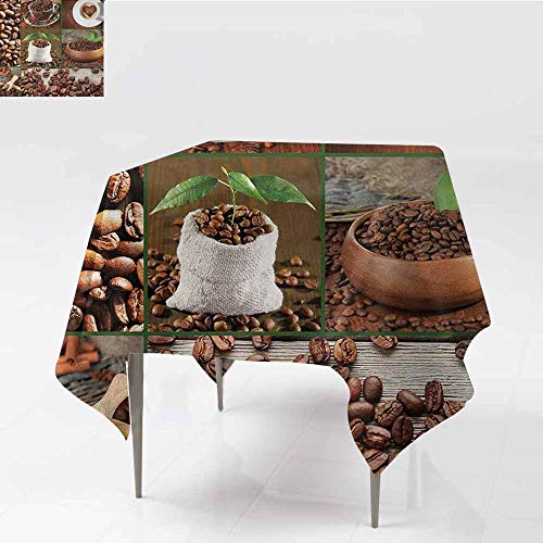 DILITECK Restaurant Tablecloth Brown Collage of Coffee Beans in Cups and Bags with Green Leaves on Wooden Table Photo Great for Buffet Table W70 xL70 Brown Green