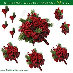 10 Pc Christmas Wedding Package - Silk Flowers - Bridal Bouquets - Red Velvet Rose 19