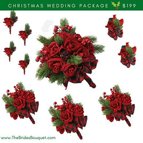 10 Pc Christmas Wedding Package - Silk Flowers - Bridal Bouquets - Red Velvet Rose