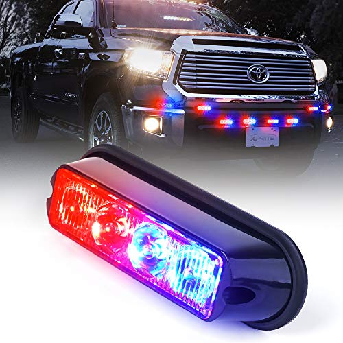 Xprite Red & Blue 4 LED 4 Watt Emergency Vehicle Waterproof Surface Mount Deck Dash Grille Strobe Light Warning Police Light Head with Clear Lens
