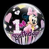 "Qualatex 12862 22"" Single Bubble DN Minnie Mouse 1st Bday 1 Bubble Balloon Per Pack"
