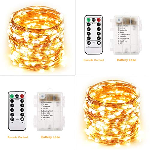 Polaristar 2 Set LED String Lights,32.8ft 100 LED Battery Operated Starry Fairy Lights,8 Lighting Modes,Waterproof Copper Wire Firefly Lights for Patio,Garden,Wedding Decoration(Warm White)