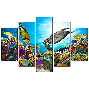 Xlarge 5 Piece Canvas Wall Art - Beautiful Underwater World with Corals,Sea Turtle and Tropical Fish - Modern Wall Decor For Kids Room Stretched and Framed Ready to Hang 40