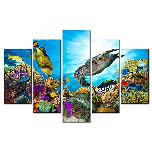 Xlarge 5 Piece Canvas Wall Art - Beautiful Underwater World