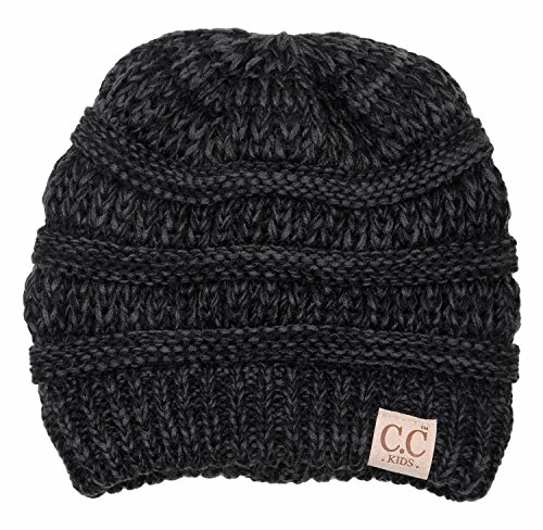 H-3847-816.6206 Childrens (NO POM) Beanie - An Onyx Black Tricolor (Funky Knit Beanie Hat)
