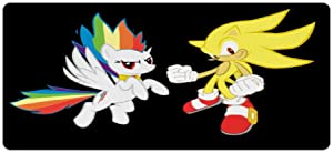 Mouse pad for Sonic,Super Sonic Hedgehog Rainbow Dash Black,Large Gaming Mouse Mat,Desk Mat,Waterproof Anti-Dirty Skid Proof Lockrand Mousepad,Perfect for Video Games, 90x40cm 35x16 inch