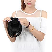"""S-noilite 8""""(20cm) Front Neat Dark Black Bangs Clip in Hair Extensions One Piece Striaght Fringe Hairpiece"""