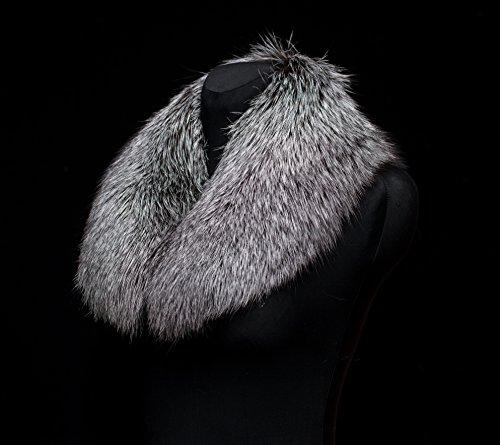Genuine Premium Silver Fox Fur Handmade Scarf Collar Stole by Your Furrier