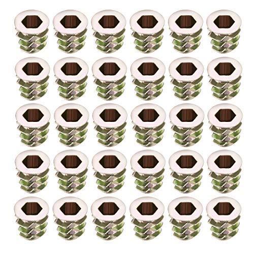 30pcs M5x10mm Threaded Insert Nuts Zinc Alloy Hexagonal M5 Internal Threads 10mm Length