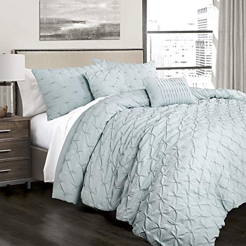 Lush Decor Ravello Pintuck 5 Piece Comforter Set, King, Blue