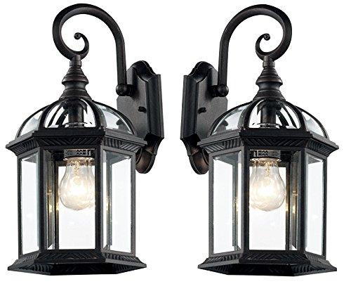 Trans Globe Lighting black-2pack 4181 BK Outdoor Wentworth 15.75'' Wall Lantern (Black-2 Pack) by Trans Globe Lighting