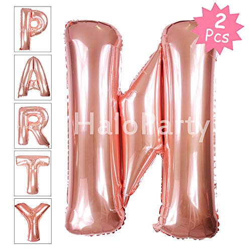 Letter Balloons, 40 Inch Giant Jumbo Glossy Rose Gold Letter Balloons, Birthday Party Decorations Big Alphabet Mylar Foil Helium Balloon (Rose Gold Letter N) ()