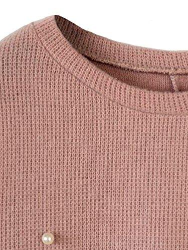 Fendirent Femmes En Vrac Cou Solide O Perlage À Manches Longues Robe Tricot Rose