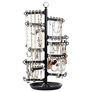 All Hung Up 12-Tier ~ Extra Capacity ~ Earrings (110+ Pairs) Necklaces Rings Bracelets ~ Display Everything ~ Tabletop Jewelry Organizer Holder Stand Tower Travel Tree Rack with Dish/Tray – Black