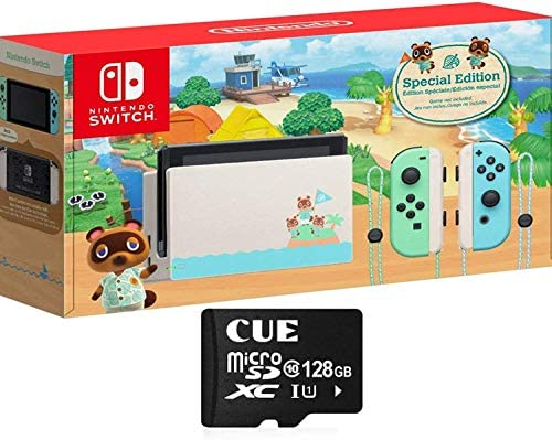 "Nintendo Switch with Green and Blue Joy-Con - Animal Crossing: New Horizons Edition - 6.2"" Touchscreen LCD Display, WiFi, Bluetooth, CUE 128GB MicroSD Card Bundle"