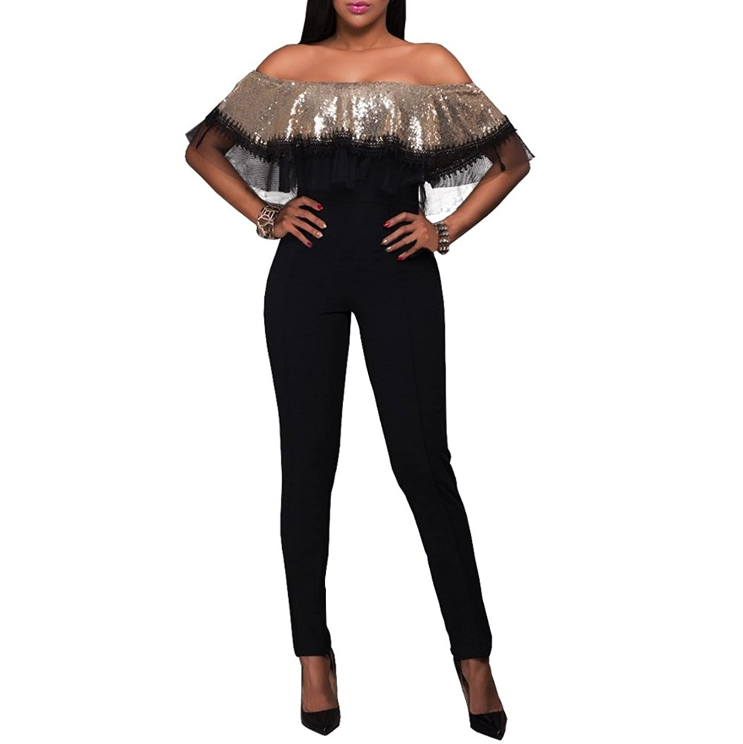 Riveroy Women's Sexy Off Shoulder Sequins Bodycon Party Clubwear Jumpsuit Romper