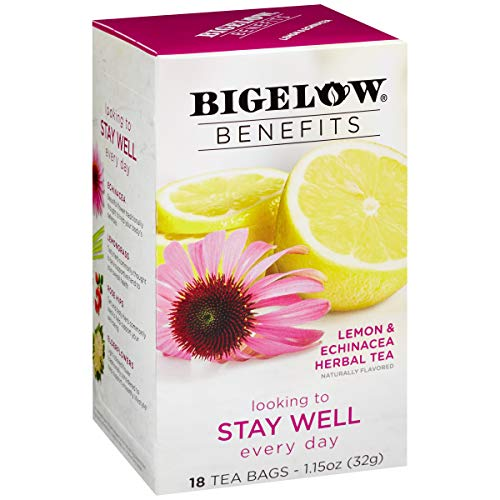 Bigelow Benefits Stay Well Lemon and Echinacea Herbal Tea Box of 18 Teabags (Pack of 6) Caffeine-Free Individual Herbal Tisane Bags, for Hot Tea or Iced Tea, Plain or Sweetened with Honey or Sugar