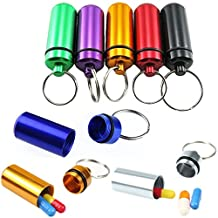 8Pcs 4.8x1.7CM Portable Colorful Metal Aluminum Hermetic Pill Box Outdoor Waterproof Small Pill Case Keychain Container by 1990s