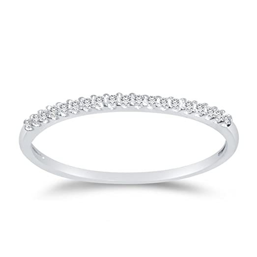 Amazon.com: Solid 14k White Gold 1.5mm Round Cut Thin Pave Set ...