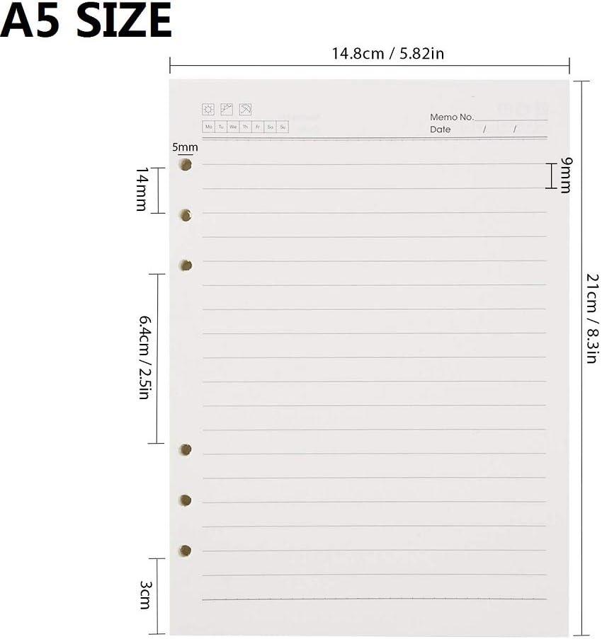 Ricariche di Carta A5 a Fogli Sciolti Compatibili con Filofax 200 Pagine a Righe A5 Inserti per Pianificatore per Raccoglitori a 6 Anelli 6 Fori