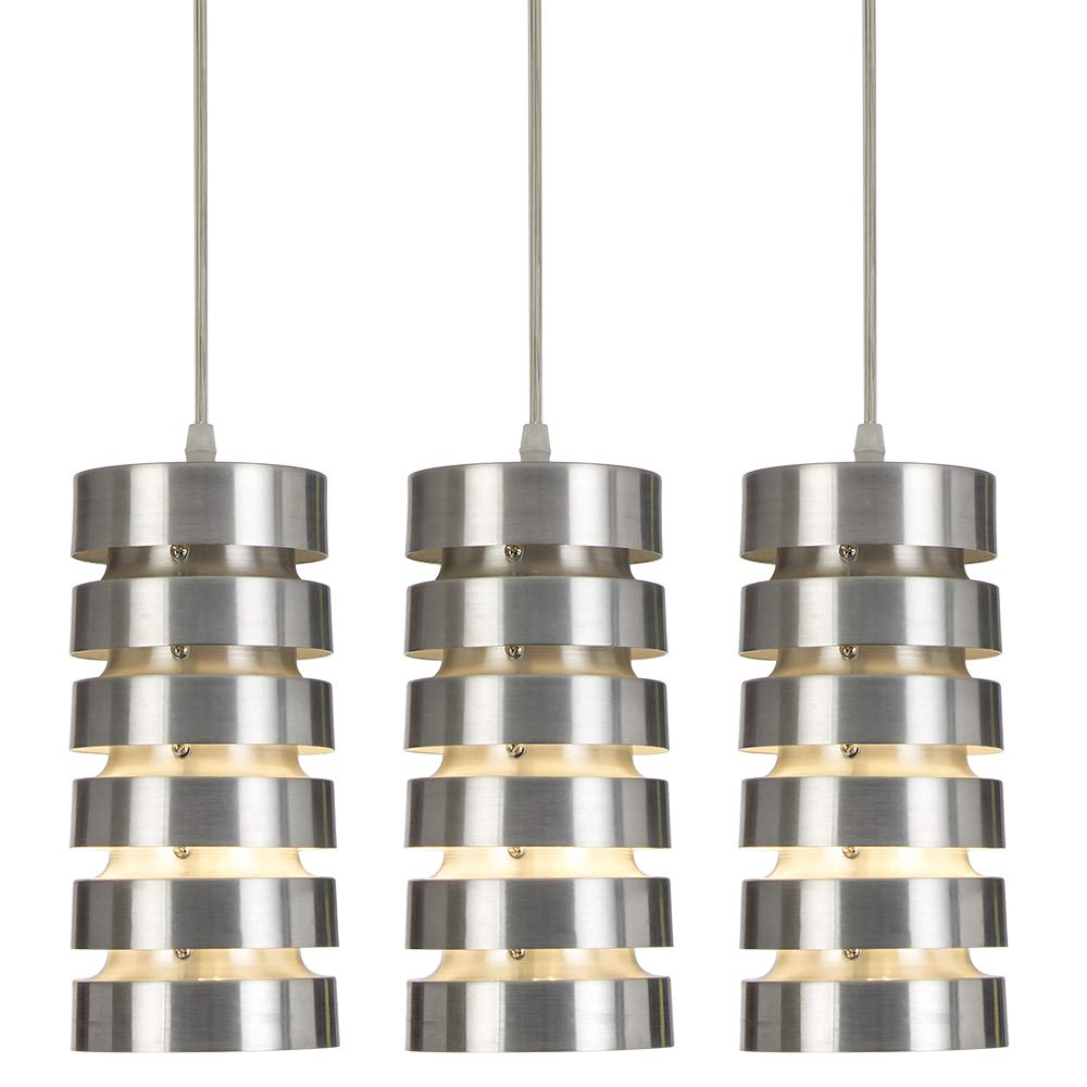 COTULINSet of 3 Modern Brushed Nickel Metal Small Pendant Light,Pendant Lighting with Cylindrical Metal Shade