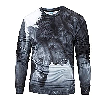 Sale! Teresamoon Mens Casual 3D Print Lion Hip Hop Long Sleeve Pullover Sweatshirt Top Blouse