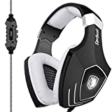 New Arrival SADES A60 USB Gaming Headset Computer Over Ear Stereo Heaphones With Microphone Noise Isolating Volume Control LED Light (Black+White) For PC & MAC