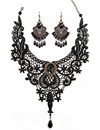 Black Lace Gothic Lolita Pendant Choker Necklace Earrings...