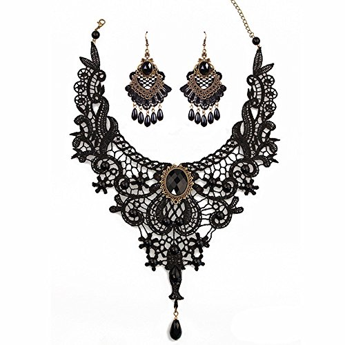 MEiySH Black Lace Gothic Lolita Pendant Choker Necklace Earrings Set (Black Set 004)