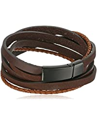 Men's Black Ion-Plated Stainless Steel and Leather Wrap...
