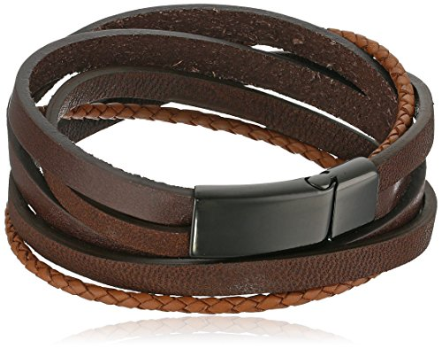 Mens Black Ion-Plated Stainless Steel and Leather Wrap Bracelet