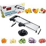 [UPGRADED] Mandoline Slicer - Vegetable, Potato, Tomato & Onion Cutter Mandolin - Best Kitchen Accessories for Fruits & Veggie - Stay Safe wth New Hand Holder - Adjustable