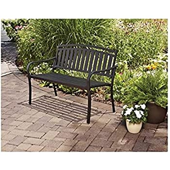 This Item Outdoor Patio Garden Furniture Black Metal Bench