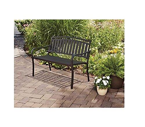 Outdoor Patio Garden Furniture Black Metal Bench