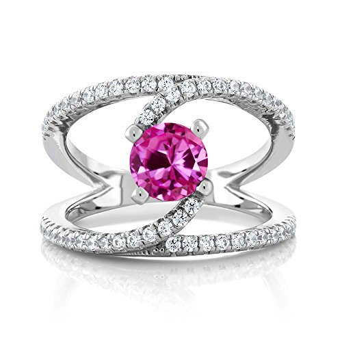 1.58 Ct Round Pink Created Sapphire 925 Sterling Silver Swirl Ring (Available in size 5, 6, 7, 8, 9) (Round Pink Sapphire Ring)