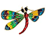 Neoglory Jewelry Gold Plated Multicolor Enamel Dragonfly Animal Brooch Pin with Jewelry Box (Red)