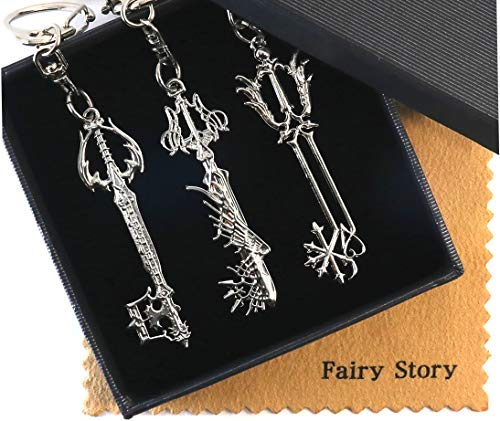 【Fairy Story】 Kingdom Hearts キングダムハーツ 【3本セット】 過ぎ去りし思い出 & アルテマウェポン & 約束のお守り キーブレード モチーフ コスプレ キーホルダー 【クロス&箱あり】
