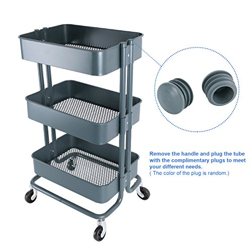 ac1220136f1e 3-Tier Metal Mesh Storage Shelf Utility Rolling Cart with Removable ...