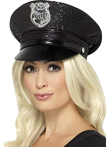 Sequin Police Hat (Black Ladies Police Sequin Hat)
