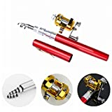 Ouguan Pocket Size Pen Shaped Collapsible Fishing Rod Pole and Spinning Reel Combo (Red)