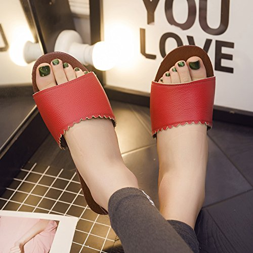 Non Female Floors Slip Summer Slippers fankou Home Slippers Cool Red 35 Current Thick Soft b Room Couples Wooden Stay 36 xw66q1XZ8z