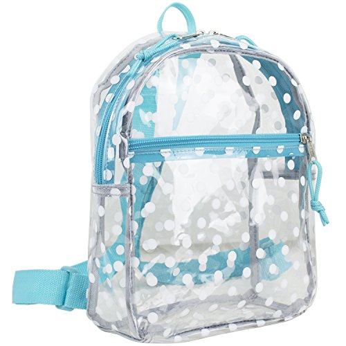 Eastsport 100% Transparent Clear MINI Backpack (10.5 by 8 by 3 Inches), Clear/Minty Blue All Over Dots
