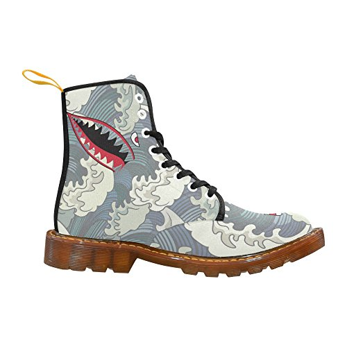 D-Story Shoes Shark Teeth Lace Up Martin Boots For Women Shark5 YMXCbHDIx4