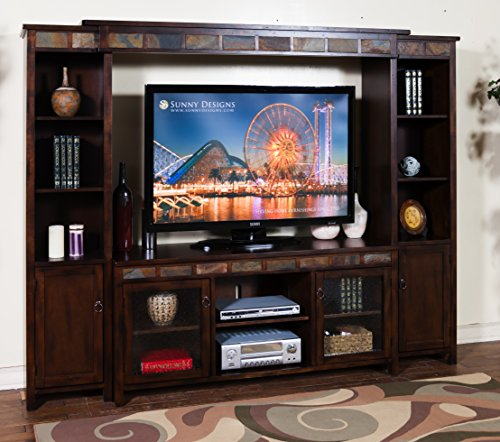 Sunny Designs K3464DC Santa Fe Entertainment Wall with Bridge, Two Piers and TV Console - Santa Fe Entertainment Wall