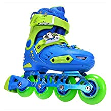 HARD SHELL ROLLER INLINE SKATES SHOES WITH ABEC-7 AND PU WHEELS BLUE FOR CHILDREN