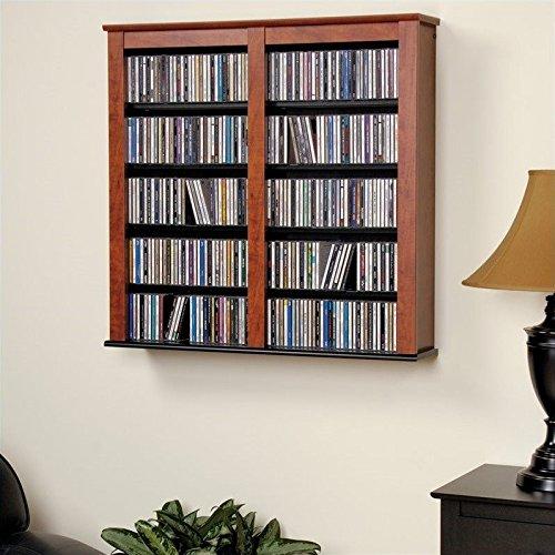Cherry & Black Multimedia Double Floating Wall Storage - Prepac CFW-0349