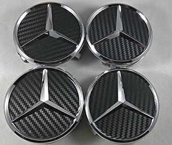 IGGY 4 x Tapones Tapacubos Tapón Logo Mercedes DE 75 mm - Clase A B C E CLK GL M ML SLK Tachuelas Círculos Aleación Coche: Amazon.es: Coche y moto
