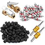 Electop Tire Valve Tool Kit 104 Pcs- 2 Open Flow Straight Lock-On Air Chucks with Clip- 80 Plastic Tyre Valve Dust Caps- 2 Valve Core Remover with 20 Valve Stem Cores for Car Motorbike Trucks Bicycle